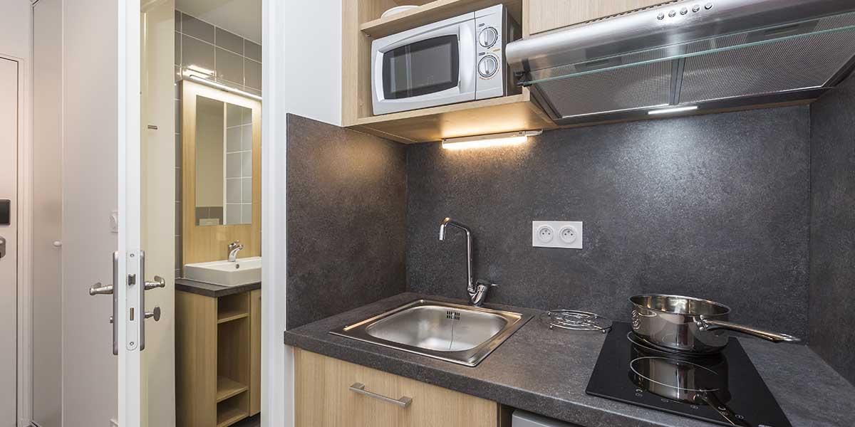 Résidence étudiante dijon-campus-trinite-logement-coin-cuisine